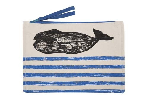 Whale Sketch Canvas Pouch - Cobalt