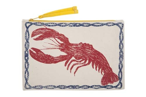 Lobster Sketch Canvas Pouch - Red