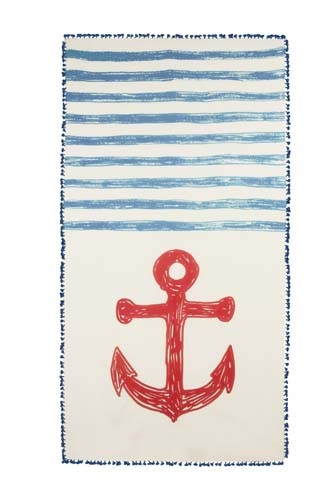 Chapati Silk and Cotton Blend Anchor Sketch Scarf - Navy