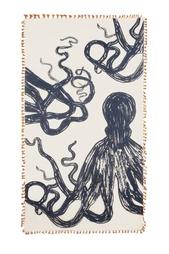 Chapati Silk and Cotton Blend Octopus Sketch Scarf - Orange