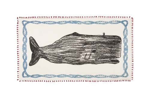 Chapati Silk and Cotton Blend Whale Sketch Scarf - Red