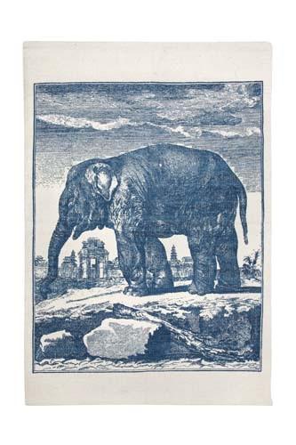 Elephant Etching Bath Mat - Cerulean