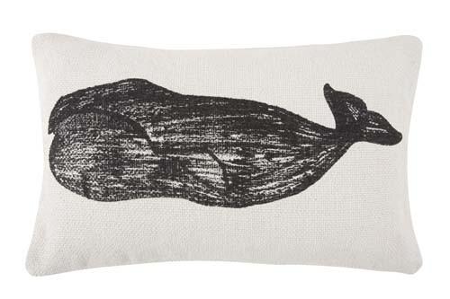 Whale Grain Sack Sketch Pillow 12x20 - Black