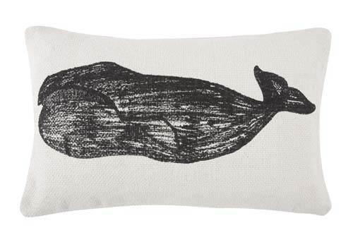 Whale Grain Sack Sketch Pillow 12x20 - Black