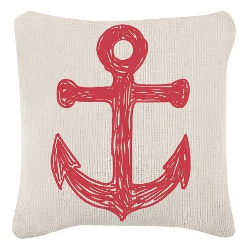 Anchor/Flag Grain Sack Sketch Pillow 18x18 - Red
