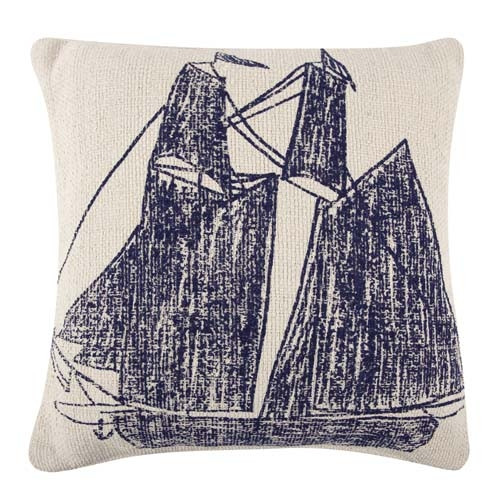 Ship/Wheel Grain Sack Sketch Pillow 22x22 - Navy