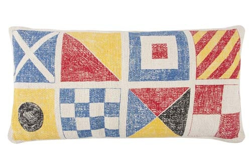 Flags/Knot Grain Sack Sketch Pillow 18x24 - Multi