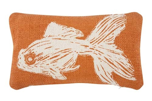 Goldfish Grain Sack Sketch Pillow 12x20 - Orange
