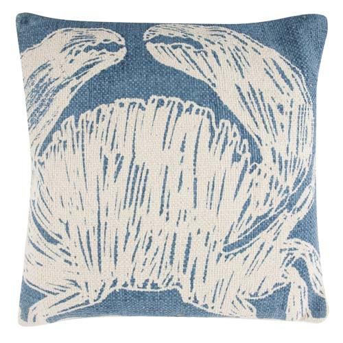 Crab Grain Sack Sketch Pillow 18x18 - Aqua
