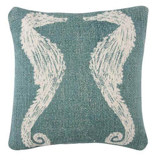 Seahorse Grain Sack Sketch Pillow 18x18 - Jade