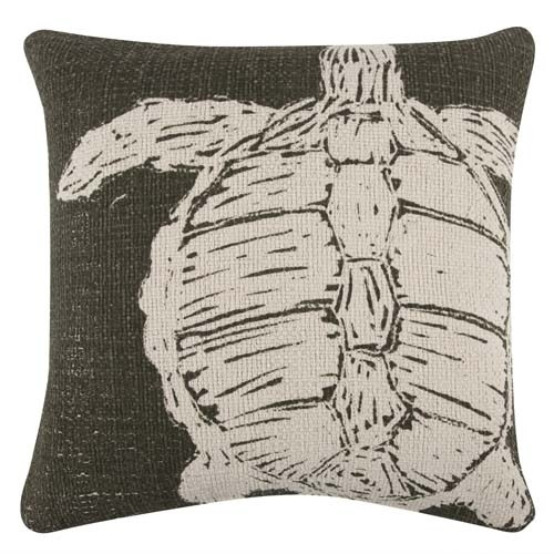 Turtle Grain Sack Sketch Pillow 22x22 - Olive
