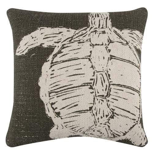 Turtle Grain Sack Sketch Pillow 22x22 - Olive
