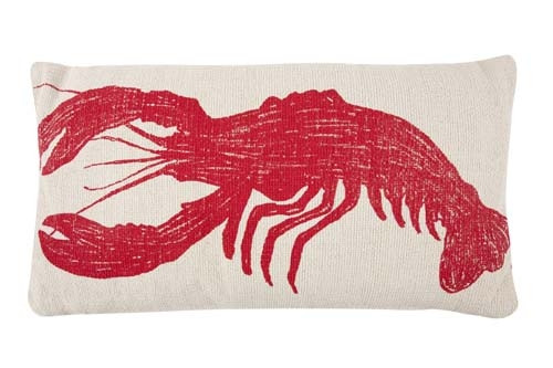 Lobster Grain Sack Sketch Pillow 18x34 - Red