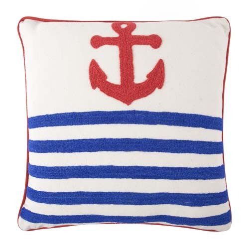 Anchor Crewel Pillow 18x18 - Red