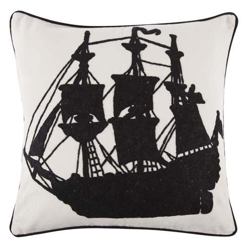 Ship Crewel Pillow 22x22 - Black