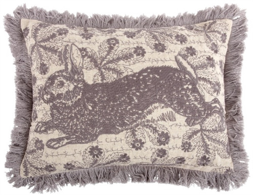 "BUNNY EMBROIDERED PILLOW 12""X16"""