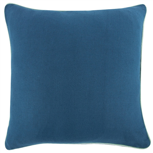 """PEACOCK BLUE REVERSIBLE SOLID 22"""" PILLOW"""