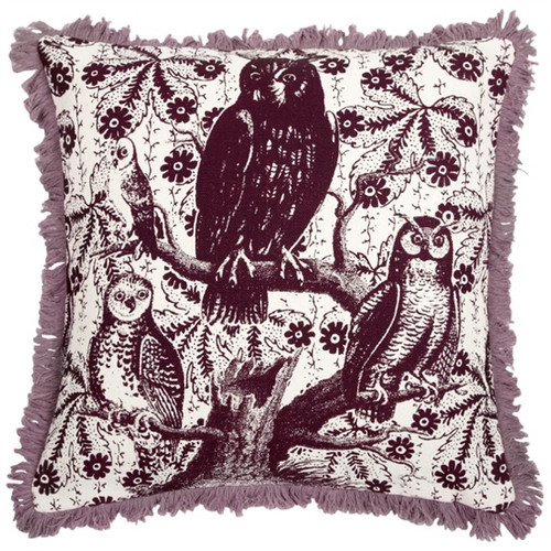 "HOOT LINEN PILLOW 22""X22"""
