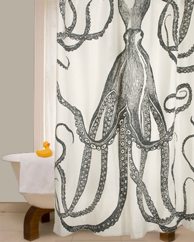 "72"" OCTOPUS SHOWER CURTAIN - Charcoal"