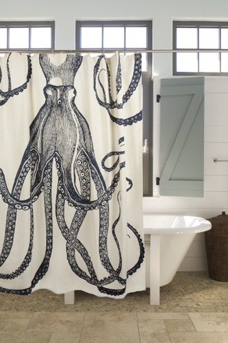 """72"""" OCTOPUS SHOWER CURTAIN (Exclusive) - Ink"""