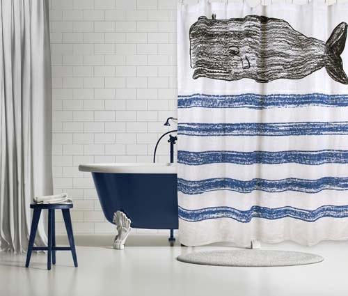 Whale Sketch Shower Curtain - Cobalt