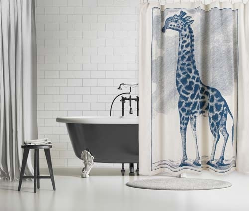 Giraffe Etching Shower Curtain - Cerulean