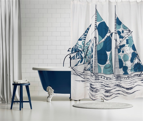 DAZZLE SHIP SHOWER CURTAIN