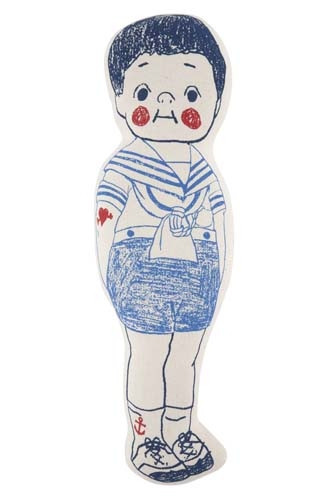 Sailor Boy Sketch Toy Pillow - Cobalt