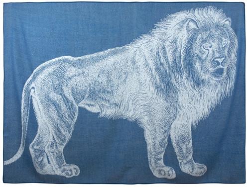 LION ALPACA THROW TEAL