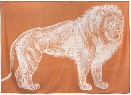 LION ALPACA THROW RUST