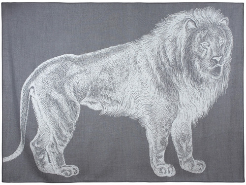 LION ALPACA THROW CHARCOAL