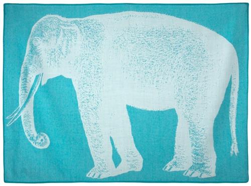 BABY ELEPHANT ALPACA THROW AQUA