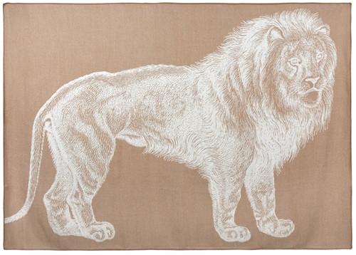 LION ALPACA THROW CAMEL