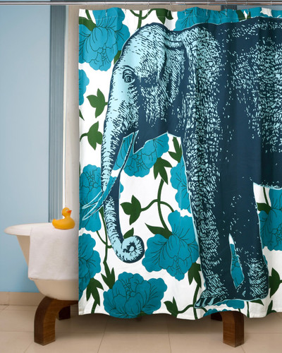 Elephant Floral Shower Curtain Aqua