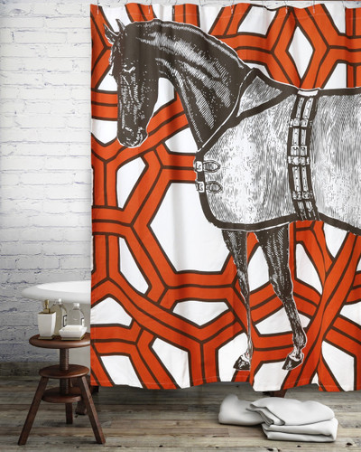 Thorougbred Geo Shower Curtain Alcazar