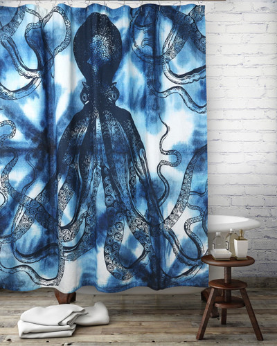 Octopus Shibori Shower Curtain