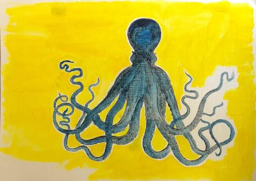 Octopus Yellow Background