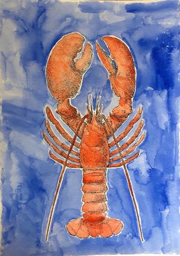Lobster Blue Background