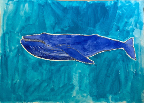 Blue Whale Aqua Background