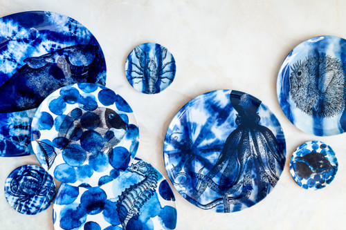 Shibori Sea Life Side Plates Set of Four