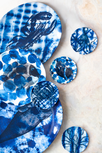 Shibori Lobster Small Oval Platter