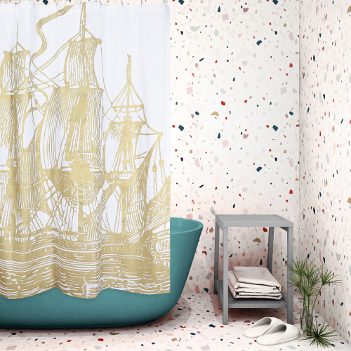 Ship Gold Dust Shower Curtain