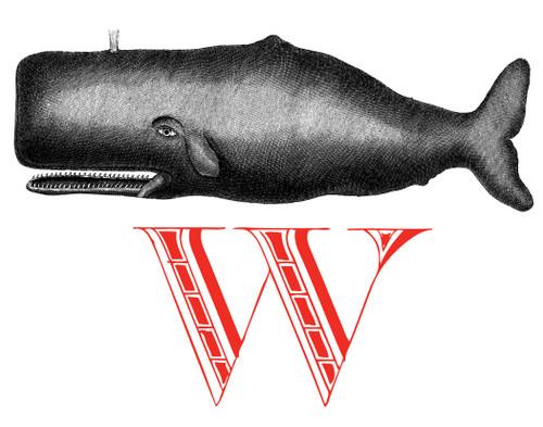 Alphabet Print W Whale