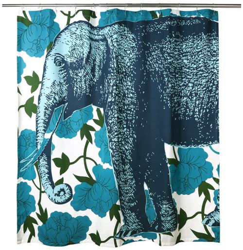 Elephant Floral Shower Curtain Aqua