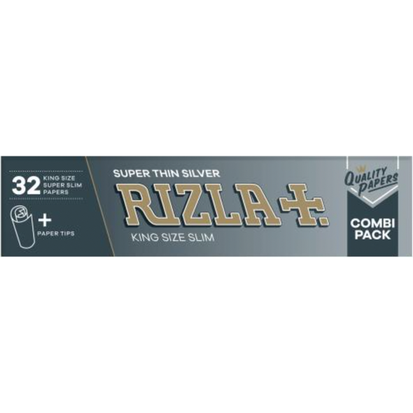 RIZLA Super Thin Silver King Size Slim Combi Pack with Tips