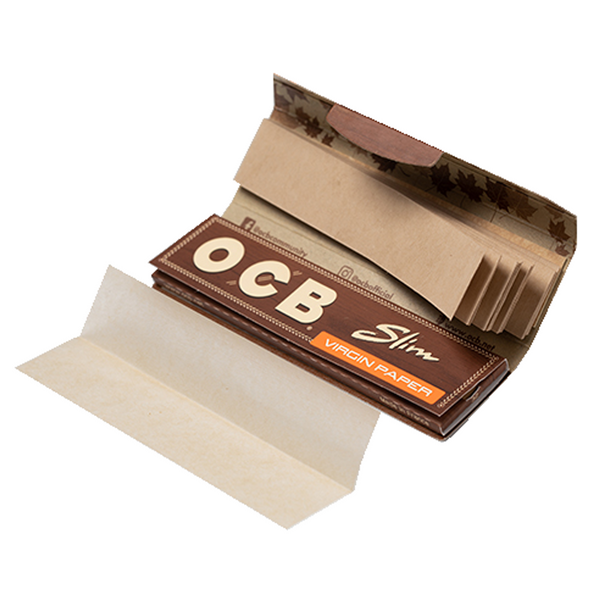 OCB Virgin Unbleached King Size Slim Rolling Papers + Tips