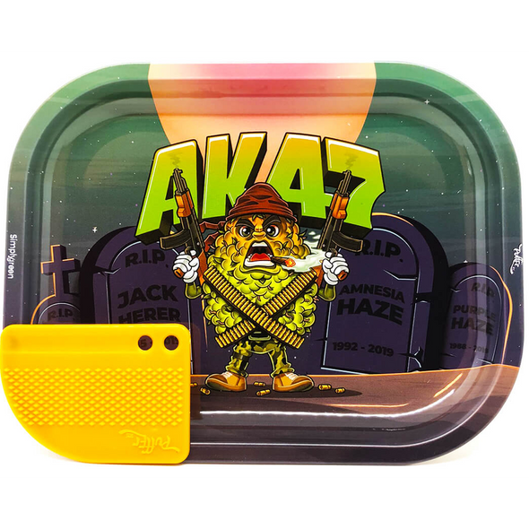Best Buds – Mission AK47 Small Metal Rolling Tray + Magnetic Grinder Card