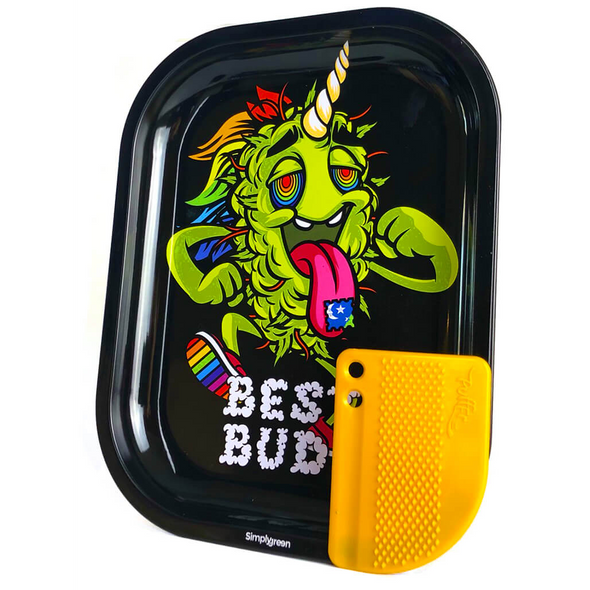 Best Buds LSD Small Metal Rolling Tray + Magnetic Grinder Card