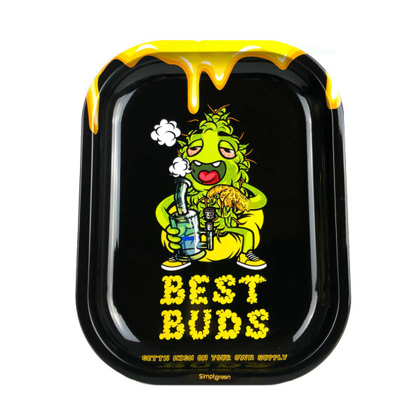 Best Buds – Dab-All-Day Small Metal Rolling Tray + Magnetic Grinder Card