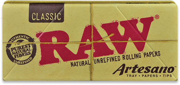 RAW Classic Artesano King Size Slim Rolling Papers + Tray  + Tips